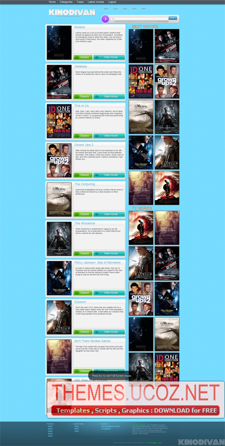 Divxonline template for ucoz movies templates themes. Ucoz.